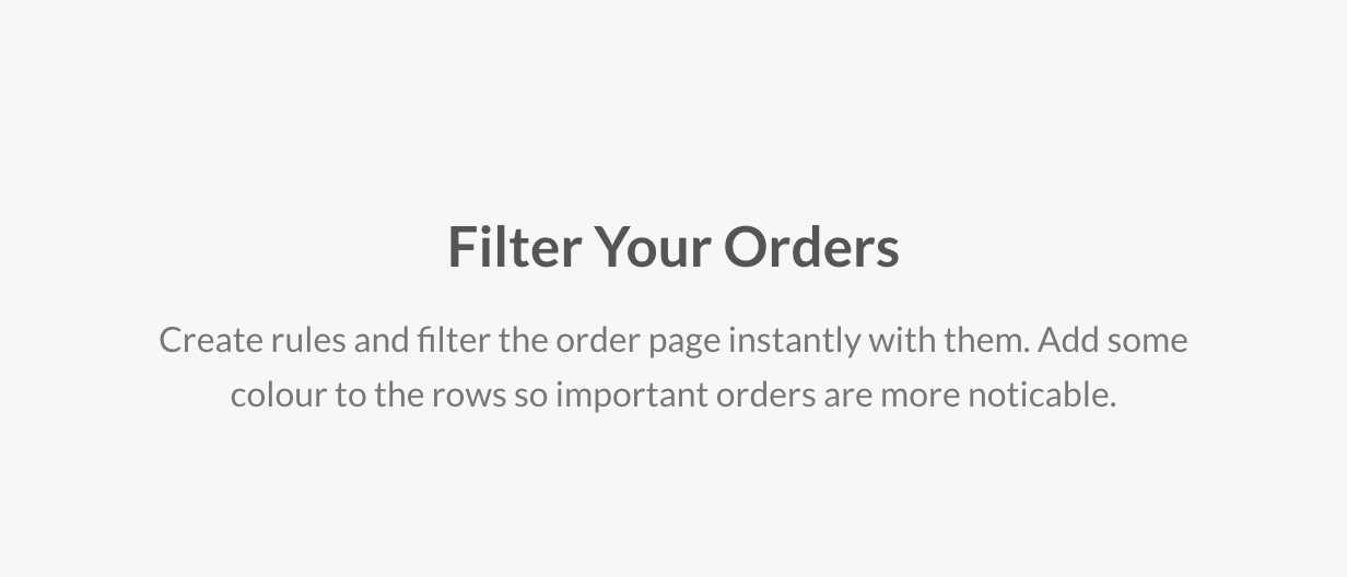 Filter Your Orders